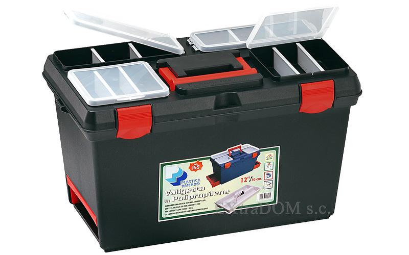 Skrzynka narzędziowa - półka, 4 organizery, 2 szuflady,